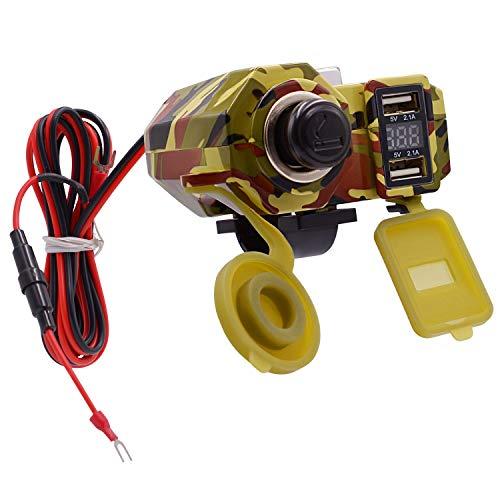 JCMY Accesorios de Coche Motocicleta 4.2A Doble Cargador USB con Interruptor voltímetro Impermeable Encendedor de Cigarrillos Socket para Auto (Color : Multi-Colored)