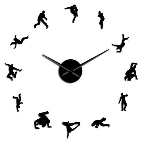 BBNNN Bailarina Silueta Pared Arte Pegatina DIY Reloj de Pared contemporáneo Break Dance Hip-Hop Dance Studio decoración Mudo Reloj
