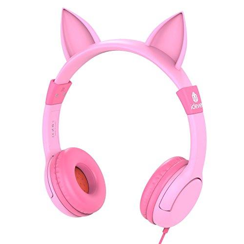 Auriculares para nios, iClever Volumen Limitado cascos para nios sobre el odo Auriculares para bebs con diseo estreo ajustable Cat para Tablets iPhone iPad PC MP3, regalos para nia, rosa