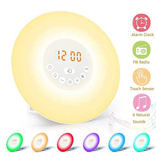 Lichtwecker, massway Wake Up Licht mit Sonnenaufssimulation Schlafhilfe FM Radio Snooze Funktion Digitaluhr Wecker 6 natürlichen Wecktöne 7 Farbige Dimmstufen LED Nachttischlampe Kinder Erwachsene