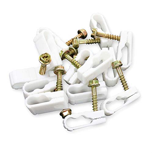STEREN Coaxial Cable Clips - Cable Holder - Wire Clips - Siding Clips for Hanging - Cord Holder for Desk - Cable Clamps - Cord Clip - Wire Organizer Clips - Tv Mount Screws - White - 100 Pack