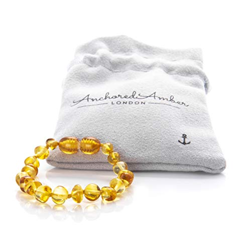 Premium Natural Baltic Amber Bracelet/Anklet - Anchored Amber. Genuine Amber with Certificate of Authenticity. 14cm (Lemon)