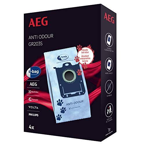 AEG GR203S s-Bag Staubbeutel Anti-Odour (Staubsaugerbeutel für Haustierbesitzer, Anti-Geruch, neutralisiert Gerüche, saubere Luft, Hygieneverschluss, optimale Saugleistung, mehr Volumen, blau)