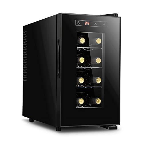 LLZH Vinoteca Electrónico, Frigorifico de Vino Tinto y Blanco, Nevera Vino de Bar Pequeño de 8 Botellas, Control Digital, Puerta de Vidrio, Mini Refrigerador de Mostrador,Vertical