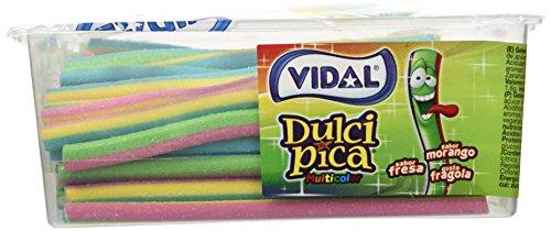 Vidal Golosinas. Dulcipica Multicolor. Regaliz relleno con cobertura pica e intenso sabor a fresa. Cajón de 200 Uds. (110)