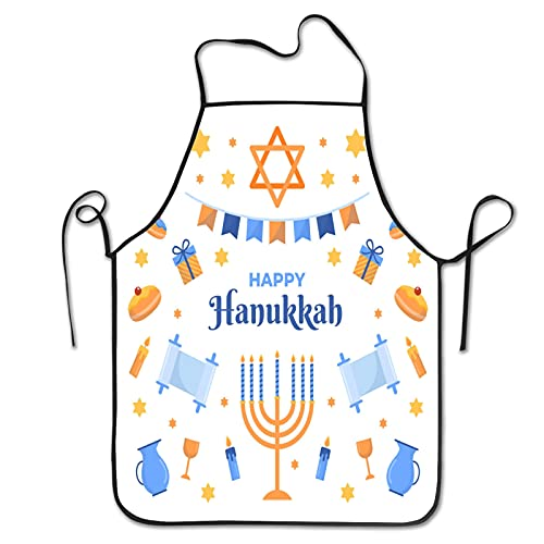 Flat design hanukkah Aprons for Men Women for Grilling Cooking Chef Kitchen Crafting BBQ Outdoors