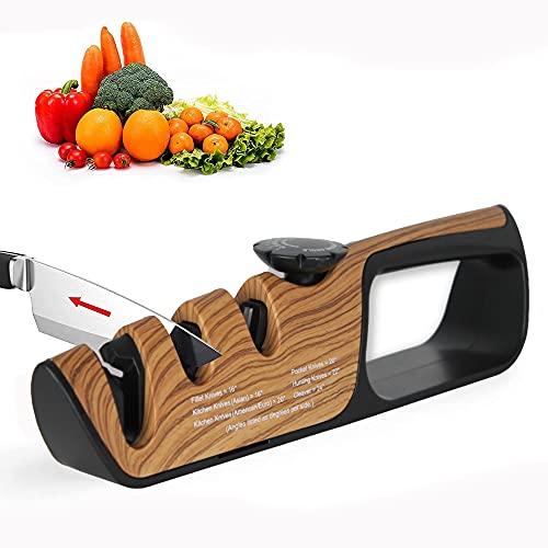 FISHTEC - Afilador de cuchillos de cocina manual 3 en 1 + Afilador de tijeras con patines antideslizantes, ángulo ajustable de 14 a 24°, 3 ranuras, 25 cm, efecto madera