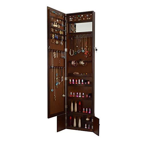 EVEN Gabinete de joyería de Espejo, Organizador de joyería de gabinete de Armario de joyería montado en la Pared de Longitud Completa