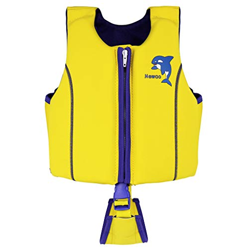JiAmy Kids Swim Trainer Vests Boys Girls Floating Jackets Waterproof Learn-to-Swim Swiming Equipment for Children (Yellow, M)