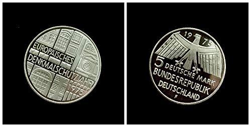 – Deutschland (1975) 5 DM Silbermünze - Europäisches Denkmalschutzjahr, 625er Silber