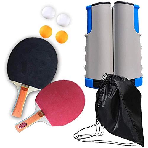Tafeltennissets, Professionele Pingpongpeddelset, Met Intrekbaar Net, Ballen, Opbergkoffer, Voor Binnenshuis Buitensporten