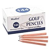 Madisi Golf Pencils, 2 HB Half Pencils, 3.5' Mini Pencils, Pre-Sharpened, Natural Wood Grain Color, 144 Count