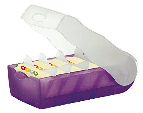 Han Croco 997-673 - Fichero para tarjetas de aprendizaje (tamaño A7, capacidad para 900 tarjetas, con 5 separadores de apoyo), color morado y transparente