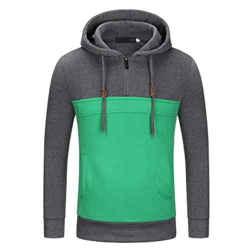 Frühling, Herbst und Winter Drei Jahreszeiten Hot New Youth Sport Solid Color Reißverschluss Design Kapuze Rollkragen Sweatjacke Gr. L, dunkelgrau
