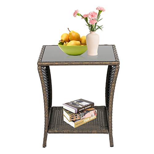 Kinsunny Patio Wicker Bistro Table Rattan Square Outdoor Furniture Woven Desk Side with Black Glass Top, Dark Blonde
