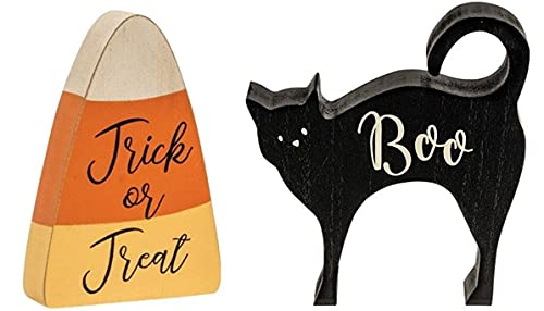 Halloween Blocks Set | Chunky Wood Candy Corn and Black Cat | 6 Inch | Halloween Decor | by Happy Deals~ Tiered Tray Shelf Sitters