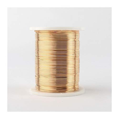 LUCHAO Alambre de Abalorios 1pc 0.3mm 28ga 0.4mm 26ga 0.5mm 24ga Plata joyería de Alambre de Cobre de Oro de 24ga Que Hace Que el Cable del Alambre (Color : KC Gold, Talla : 26ga Dia x 27m Long)