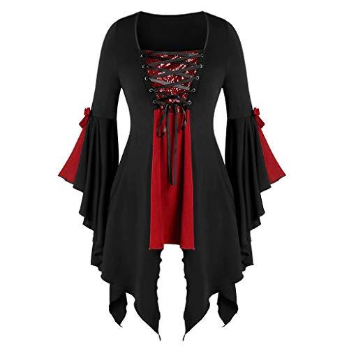 GOKOMO Halloween Lady Pailletten Augen Krawatte Trompete Ärmel unregelmäßiger Saum Hexe Top(rot-B,Medium)