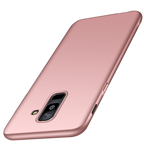 Adamarkeer Coque Galaxy A6 2018 Case Ultra Slim Cover Anti-Scratch Antichoc Protection Housse Bumper Récurer PC Rigide Étui Back Shell pour Samsung Galaxy A6 2018 (Galaxy A6 2018, Or Rose)