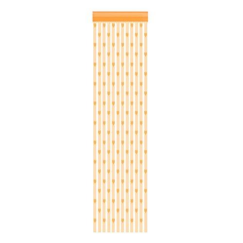 """Janly Clearance Sale Cortina de 50 x 200 cm, diseño de corazón con texto en inglés """"Love Heart"""" para ventana y puerta, cortina transparente para el día de Pascua (naranja)"""