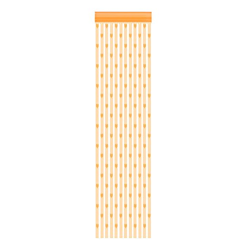 sunnymi   50 x 200 cm Love Heart String Curtain Window Door Divider Curtains Valance (Orange)
