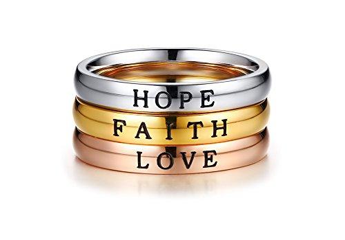VNOX Edelstahl GLAUBE Liebe Hoffnung Inspirational Positive Gravierte Worte Triple Stapelbar Ring für Frauen Größe 52