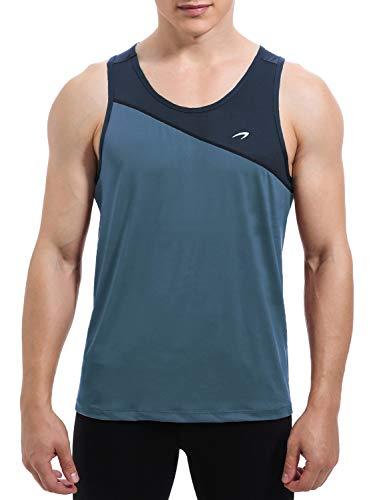 KPSUN Herren-Tanktop, schnelltrocknend, ärmellos, für Bodybuilding, Training, Laufen, Joggen, Fitness, Herren, Grau/Blau, Large