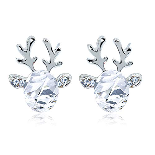 Elk Reindeer Earrings Christmas Earrings Set Antlers Hypoallergenic Crystal Pearl Stud Earrings Christmas Xmas Wedding, Valentine Jewelry for Womens Girls (White)