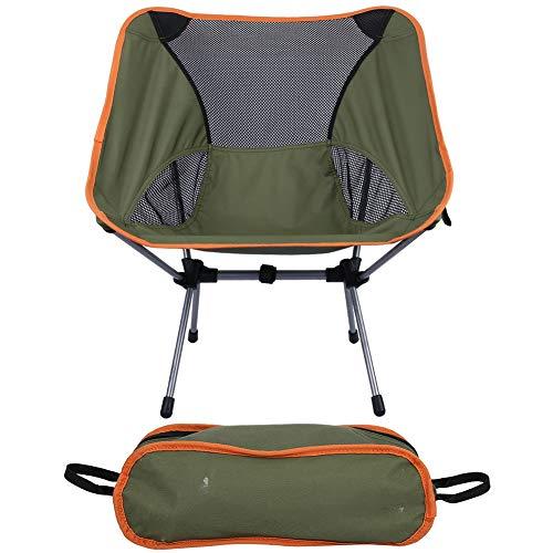 Silla de respaldo al aire libre, silla plegable portátil, capacidad de carga estupenda para pesca al aire libre, camping, picnic, barbacoa viajes (verde)