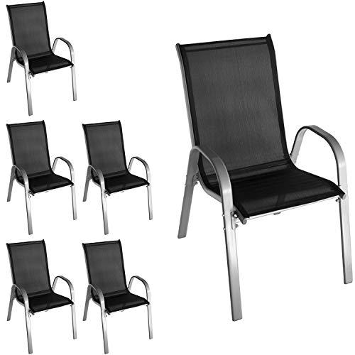 Wohaga 6 Stück Stapelstuhl mit Textilenbespannung, Stahlgestell pulverbeschichtet, Grau/Schwarz,...