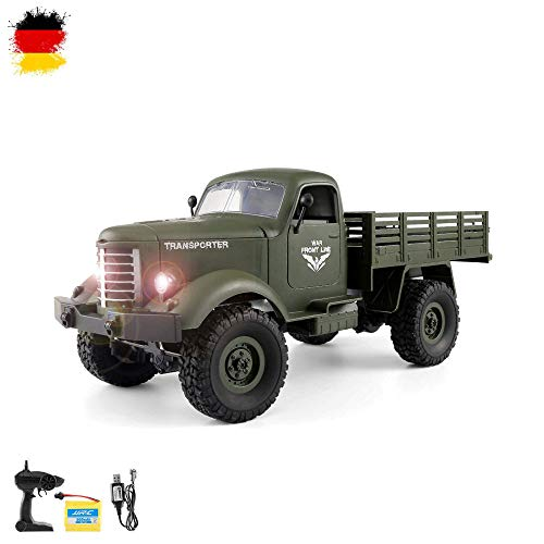 HSP Himoto 2.4GHz brigamo–4WD Off-Road Militar Army Truck Crawler Transporter de Coche, Juego Completo de RTF