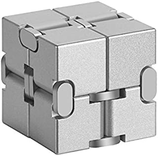 MingXinLong Finger Toy-Aluminium Alloy Infinity Cube,Pressure Reduction Toy,Anxiety Relief,Relaxation Office Stress Reducers for ADD, ADHD, Anxiety, Autism Adult & Kids (Silver, 1.51.51.5inch)