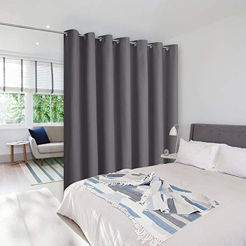 NICETOWN Closet Curtains Sound Blocking, Bedroom Privacy Room Divider Curtain Screen Partitions, Thermal Insulated Blackout Patio Sliding Door Divider Curtain (1 Panel, 8.3ft Wide by 7ft Long, Gray)