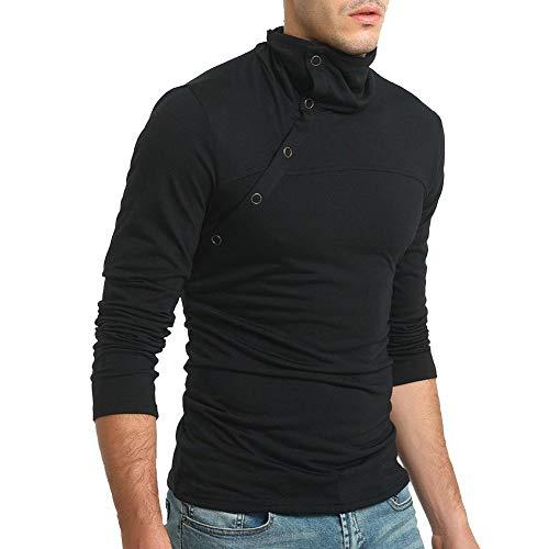 Heren shirt rolkraag lange mouwen oversize rolkraag trui gespen Chic longsleeve slim fit eenkleurig T-shirt