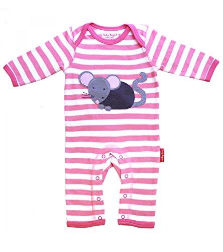 Toby Tiger 100% Organic Cotton Super Soft Mouse appliqué Sleepsuit. Combinaison, Rose-Rose, 6-12 Mois Bébé Fille