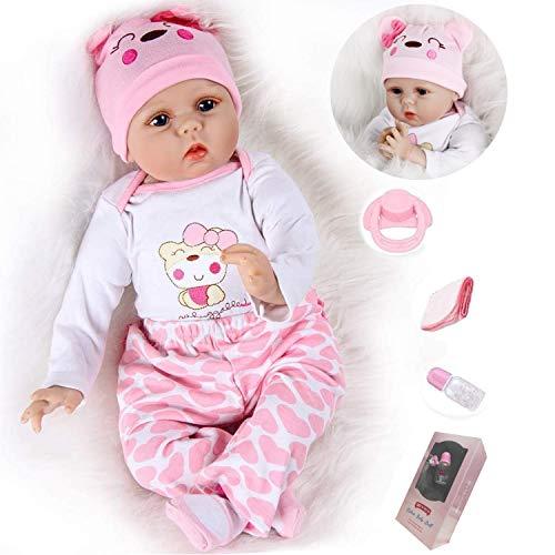 """ZIYIUI Lebensechte 22""""/55cm Reborn Babypuppen Weiche Vinyl Silikon Simulation Reborn Babys Mädchen Magnetisch Mund Mädchen Junge Spielzeug Weihnachten Geschenk Spielzeug"""
