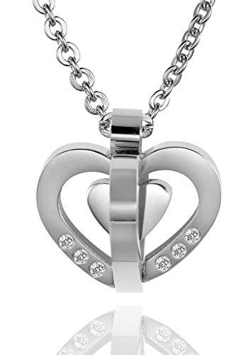 ANAZOZ roestvrij stalen halsketting dames ketting hanger stereoscopic holle harten zilver