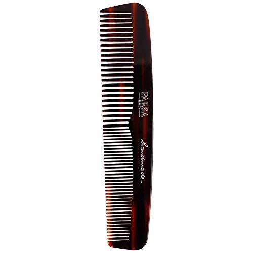 PARSA BEAUTY Haar-Kamm/Bartkamm 14 cm in Braun mit 2 Zahnungen fein & grob Handmade Made in Germany aus 100% recyceltem Kunststoff hergestellt