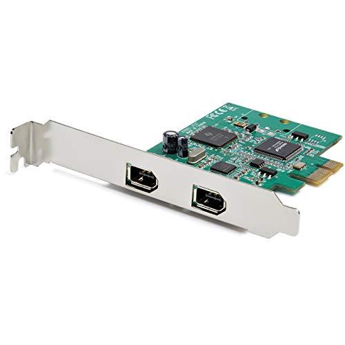 StarTech.com Tarjeta PCI Express de 2 Puertos FireWire - FireWire 1394a - con Chipset TI TSB82AA2 - Compatible con Windows y Mac (PEX1394A2V2), Negro