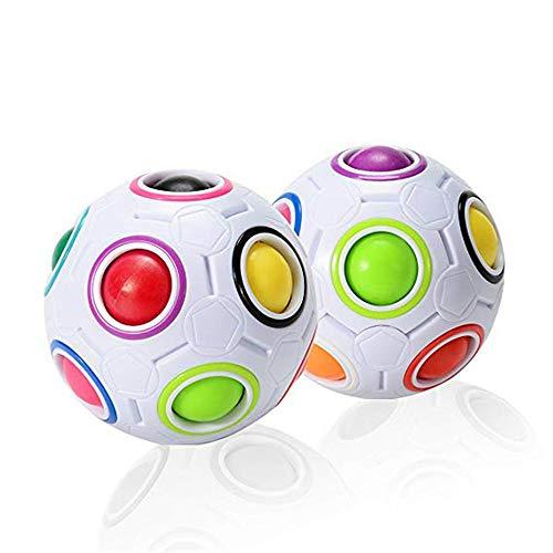 MUXItrade Magic Rainbow Ball, Intelligente Puzzle 3D Speed Cube, Giocattoli educativi per Bambini, Palla Antistress per Adulti (2 Pezzi)