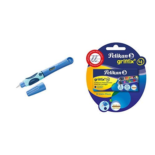 Pelikan 927970 Füllhalter griffix, Blau, für Rechtshänder, mit Drehkappe & 4001 Griffix Großraum-Tintenpatronen 2 x 5 Stück Blisterpackung