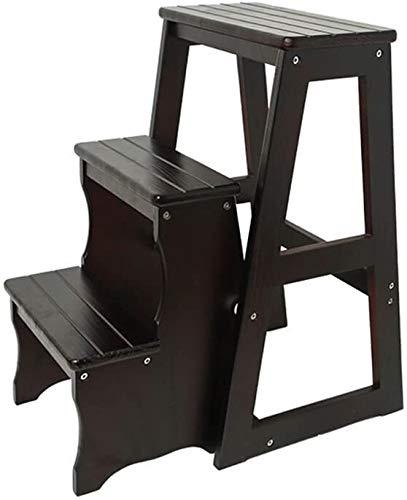 Suge Escalera de Mano de Madera Maciza de Madera Escalera del Taburete Multifuncional heces Zapatos cambiantes sillas Plegables con 3 150 kg Carga máxima Pasos (Color : #2)
