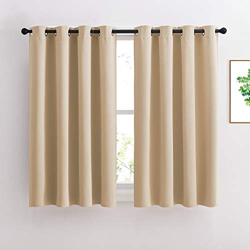 NICETOWN Bedroom Curtains Room Darkening Drapes - Biscotti Beige Curtains/Panels for Bedroom, Grommet Top, 2-Pack, 52 x 45 inches Long, Thermal Insulated, Privacy Assured
