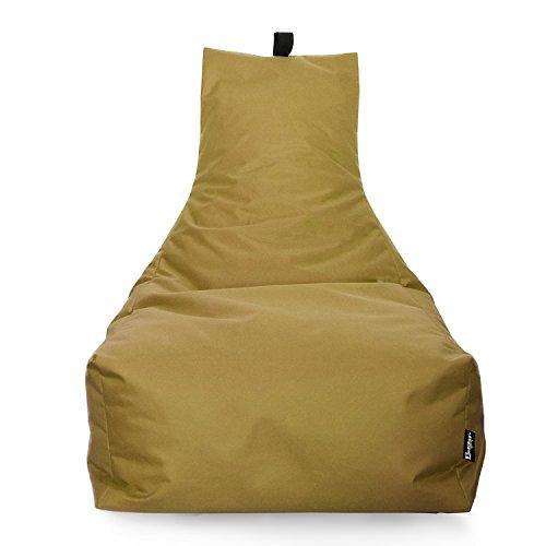 Lounge Sitzsack Liege Beanbag 32 Farben wählbar 90cm(Ø) Rückenlehne Bodenkissen Indoor Outdoor Sitzsäcke Gaming Kinder Bean Bag Erwachsene Riesensitzsack gefüllter Sessel (Sand)