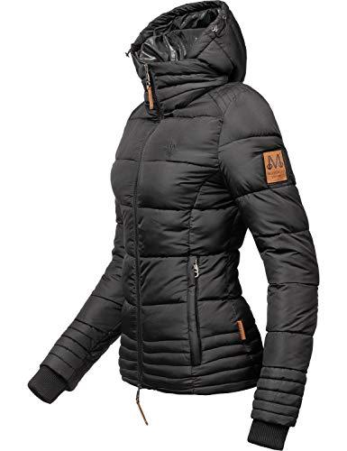 Marikoo Damen Winterjacke Stepp-Jacke Sole Schwarz Gr. L