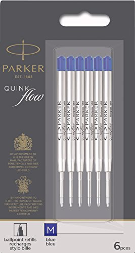 Parker QUINKflow Ballpoint Pen Ink Refills, Medium Tip, Blue, 6 Count Value Pack (2025156)