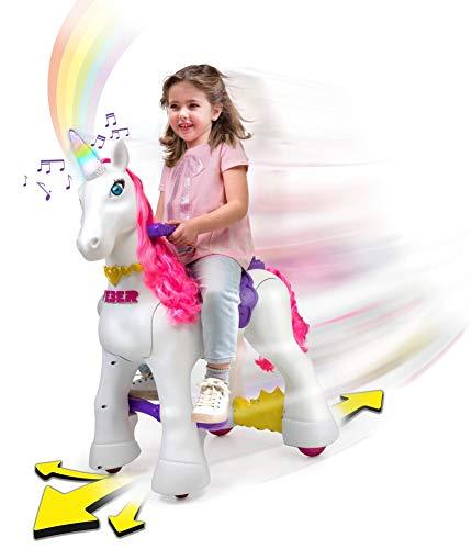 Feber My Lovely Unicorn 12V Ride On - Electric Vehicle- My Unicorn Electronic Pet & Long Pink Hair- Girl 3-7 Years