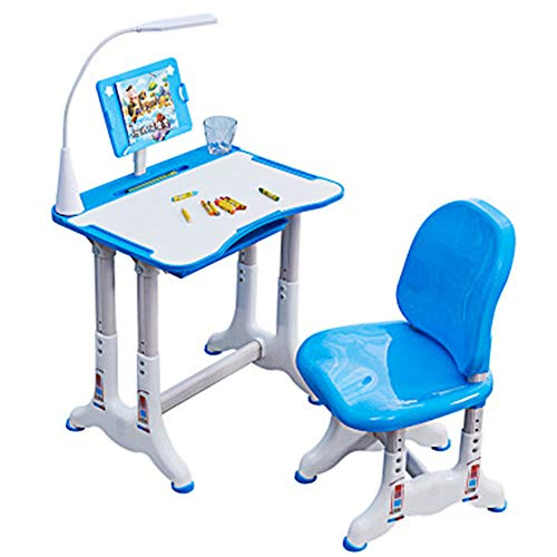 CCK Escritorio para niños Juego de Escritorio y Silla para niños con Altura Ajustable con cajón Estuche para lápices Luces LED Adecuado para niños y niñas