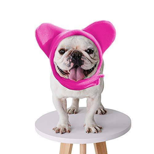 BZB Cute Dog's Fleece Bat Hat Soft Warm Adjustable French Bulldogs Winter Hats Pet Supplies (Small,Pink)
