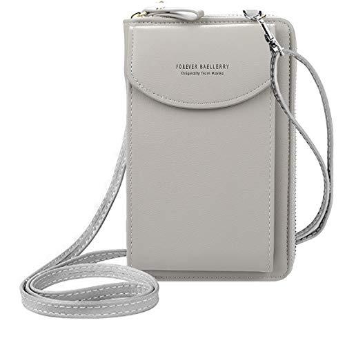 ZhengYue kleine Crossbody Tasche Handy - Tasche Brieftasche mit Credit Card Slots für Frauen Grau
